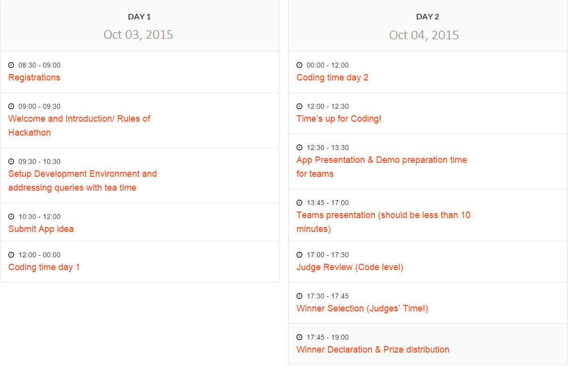 MoMo Ahmedabad Hackathon Schedule (Click to enlarge)